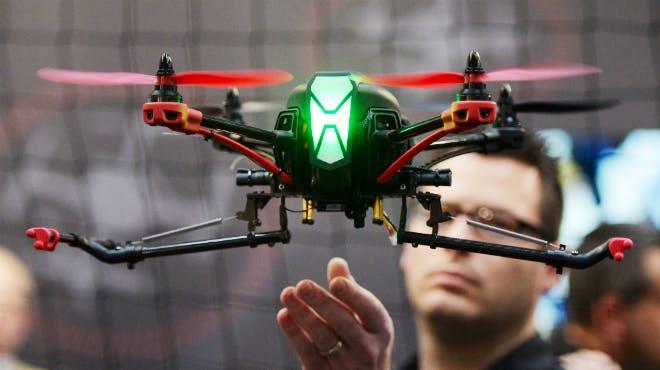 Drohne im Einsatz auf der CeBIT
