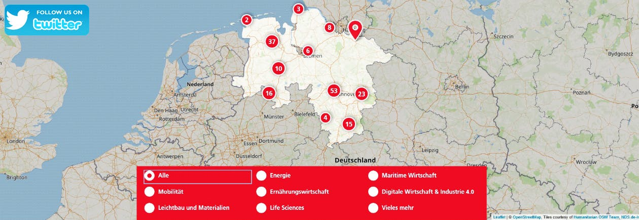 Screenshot Niedersachsen Business Map
