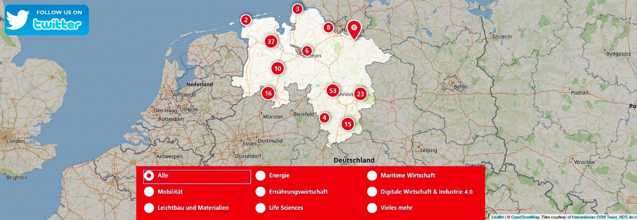 Screenshot Niedersachsen Business Map