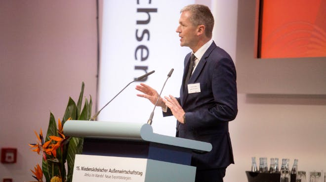 Außenwirtschaftstag 2018: Referent Holm von der NORD/LB